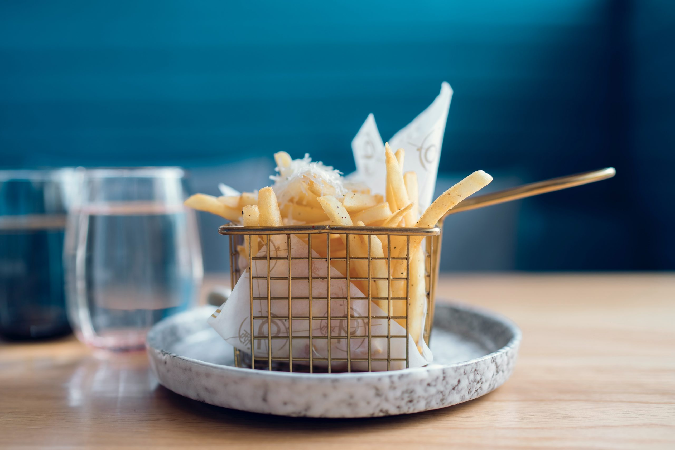 How many carbohydrates per day? Photo of salted fries in basket