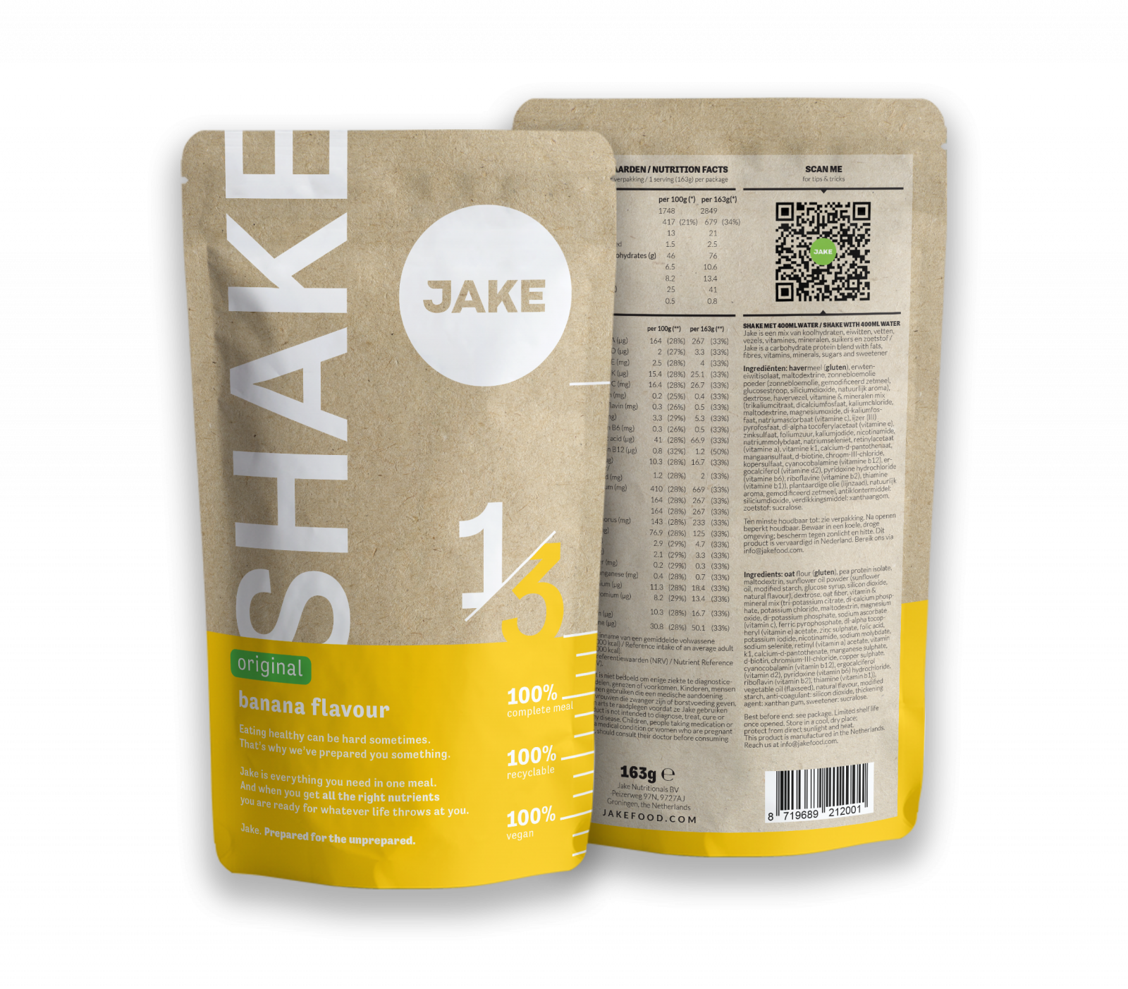 The Jake Shake original Banana from the front and the back