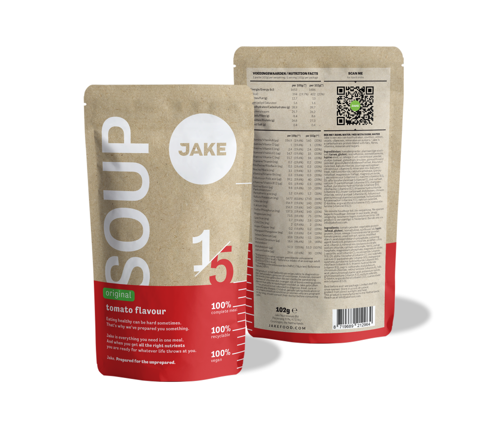 Jake Original Soup: Tomato front and back