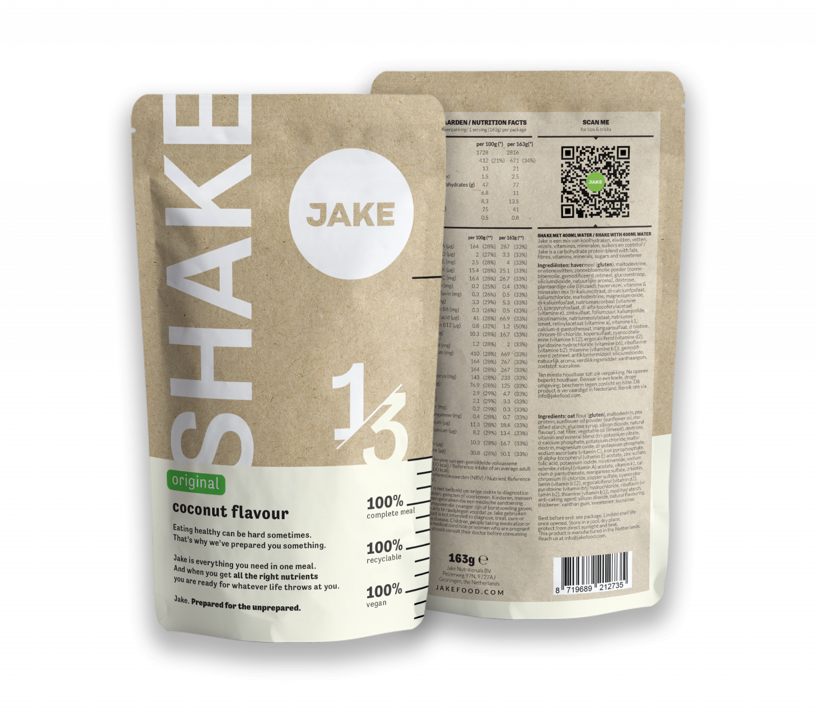Front and back view of the Jake Original Shake Coconut