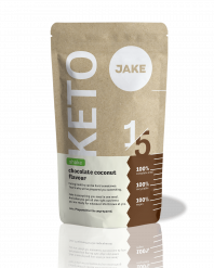 A picture of the Jake Keto Shake, Chocolate Coconut, from the front