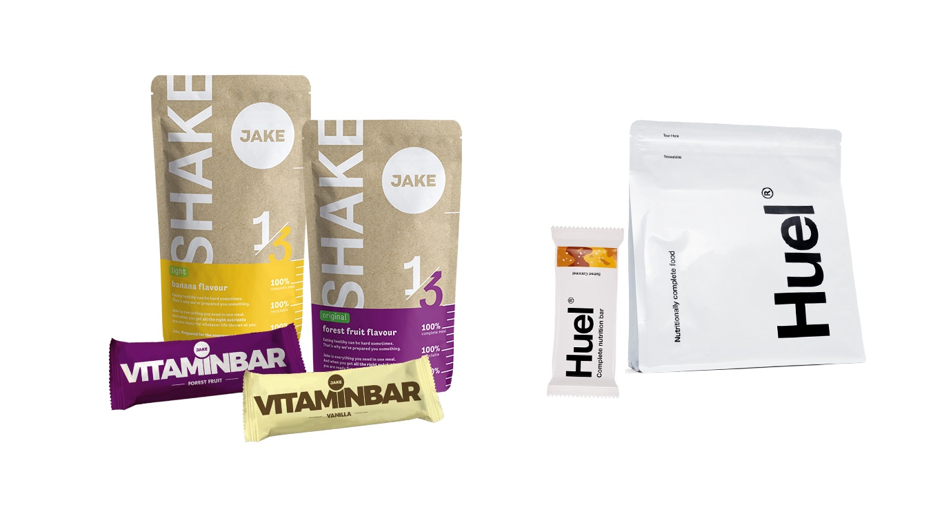 Jake and Huel products side by side